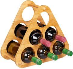 Naturelkleurige Relaxdays wijnrek bamboe - piramide - flessenrek - flessenhouder - rek voor 6 wijnflessen