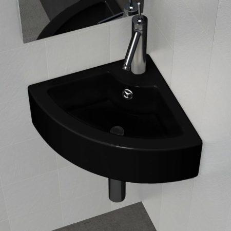 Immagine di Nero VidaXL Lavandino bagno rotondo in ceramica nera foro di trabocco e supporto