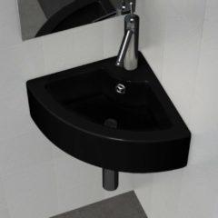 Nero VidaXL Lavandino bagno rotondo in ceramica nera foro di trabocco e supporto
