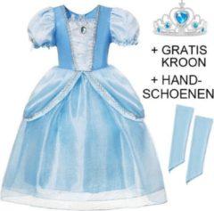 Prinsessenjurk.nl Luxe Assepoester prinsessenjurk blauw + handschoenen + gratis kroon 134/140 (140) 9-10 jaar