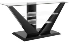 Hubertus Meble Tv-meubel Luna 140 cm breed met led - Hoogglans Zwart