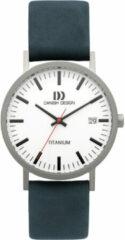 Zilveren Danish Design titanium herenhorloge Rhine White Blue Date Large IQ30Q1273