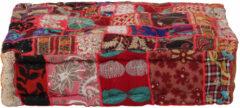 VidaXL Poef patchwork vierkant handgemaakt 50x50x12 cm katoen rood