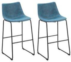 Blauwe Beliani Franks Barkruk Set Van 2 Polyester 33 X 46 Cm