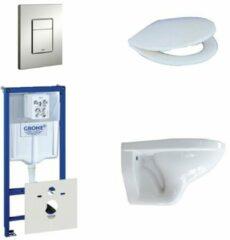 Witte Adema Classico toiletset bestaande uit inbouwreservoir, toiletpot, toiletzitting en bedieningsplaat mat chroom 0729205/0261520/4345100/0720002