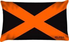 Velits outdoor Buitenkussen OITNB zwart oranje bootkussen waterafstotend 40x60cm cross