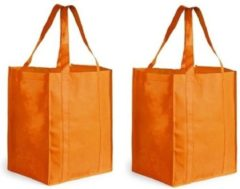 2x Boodschappen tas/shopper oranje 38 cm - 2 Stuks stevige boodschappentassen/shopper bag