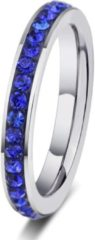 Blauwe Amanto Ring Erien Blue - Dames - 316 Staal PVD - Zirkonia - 4 mm - maat 55 - 17,5 mm
