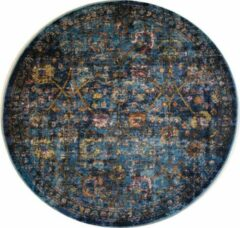 Impression Rugs Picasso Sarough Vintage Rond Vloerkleed Blauw Laagpolig - 200 CM ROND