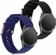 Kwmobile 2x horlogeband voor Samsung Galaxy Watch 3 (41mm) - siliconen band voor fitnesstracker - zwart / donkerblauw