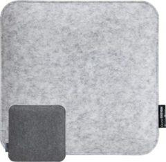 DuneDesign 30mm vilten zitkussen vierkant 35x35cm stoelkussen zacht 2-kleurig grijs