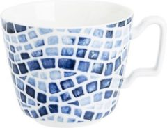 Blauwe Sokken Fabriek Mosaic blue ontbijtkop 39cl d10,5xh8,8cmnew bone china