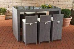 CLP Gartenbar-Set LENOX aus wetterbeständigem Polyrattan Gartenmöbel-Set mit 6 Barhockern inkl. 6 Sitzkissen und einem Bartisch In verschiedenen Far