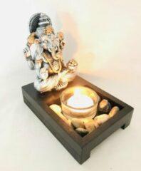Zhu Zilver/goud ganesha beeldje en waxine/theelicht houder 14x9.5x14cm - Woondecoratie - Kaarsenhouder-boeddha - Incl. decoratie steentjes.& Waxinelichtje met glas.schaal