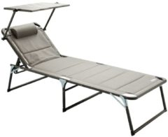 Aluminium Sonnenliege Gartenliege XXL Alu Liege mit Dach Dreibeinliege Textilene grau 200x70 cm bis Meerweh grau