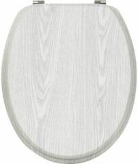 Gebor Toiletbril - Toiletzitting - Wc-bril - Hout-look - Grijs - RVS Scharnieren - Roestvrijstaal - MDF - 37,50x46cm - Universeel Formaat - 4-zijdige print