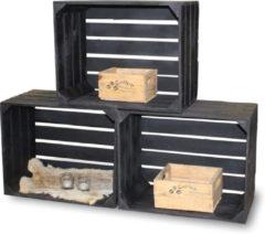 Steigerhoutpassie Fruitkist zwart - set van 3 - L 50 x B 40 x H 30 cm