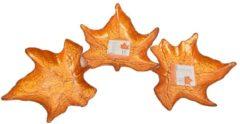 Discountershop Decoratie bordschaal oranje blad van porselein 24 cm 3 stuks - Tafeldecoratie - Woonaccessoires