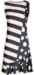Stilvolles Kleid VICTORIA mit edlem Streifen- und Punkte-Dessin Nicowa creme