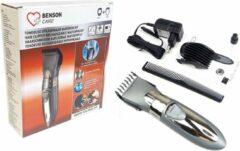 Zilveren Benson Care PROFESSIONAL HAIRCLIPPER - Waterdichte Draadloze Tondeuse