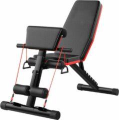 Nolad® Halterbank - Fitnessbank - Trainingsbank - Verstelbaar/Inklapbaar - Inclusief weerstandsbanden - Zwart/Rood