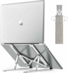 Zilveren Salext laptop standaard - Aluminium - Verstelbaar - Laptop stand - Opberg zakje - t/m 16 inch