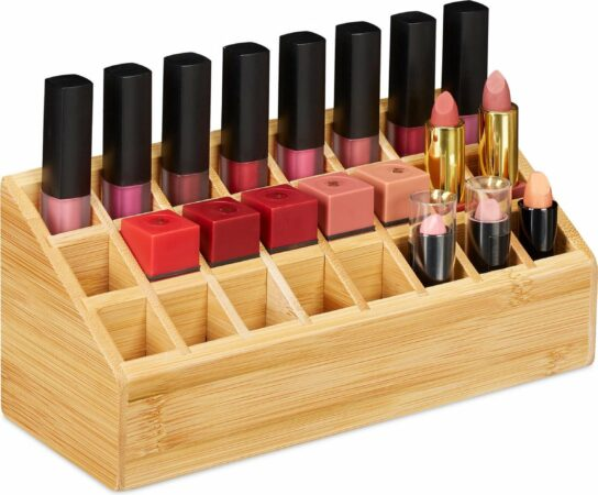 Afbeelding van Bruine Relaxdays lippenstift houder bamboe - lippenstift organizer - 24 vakken - make up
