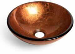 Saniclass Pesca waskom 30x10,5cm rond gehard glas bruin rood GS-L01183