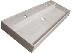 Saniclass Concrete wastafel 119.2x46x11cm 1 wasbak 2 kraangaten zonder overloop Gecoat Beton Grijs gemêleerd 2139