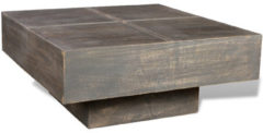 Bruine VidaXL Vierkante salontafel van mango-hout in antieklook (zwart)