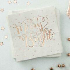 Goudkleurige Ginger ray Metallic Star - Servetten Merry & Bright Rose Goud 20 stuks