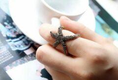 Bruine Leukste Koop Zeester ring bronskleurig