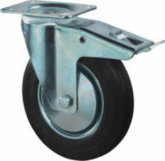 Kelfort Zwenkwiel, zwart rubber wiel met stalen velg en rollager + rem, 50kg m/rem 80mm