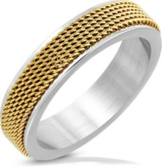 Gouden Amanto Ring Akram Gold - Heren - 316L Staal - Mesh Band - 6 mm - Maat 60 -19