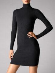 Zwarte Wolford Ribgebreide jersey jurk met col