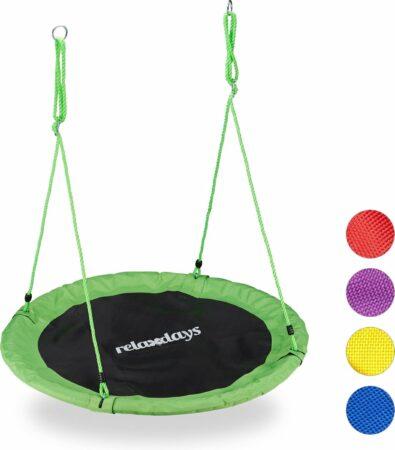 Afbeelding van Relaxdays Nestschommel - vogelnestschommel - buiten schommel- 110 cm - kinderschommel groen