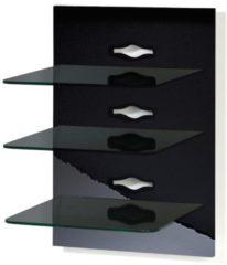 Paneel Hifi-Halterung Receiver DVD-Player Hifi-Möbel Hifi-Konsole Wandregal 'Xeno-3 Schwarzglas' VCM Milano