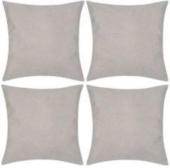 VidaXL Kussenhoezen linnen look 80 x 80 cm beige 4 stuks