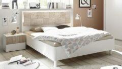 Pesaro Mobilia Tweepersoonsbed Perez 160x200cm in mat wit met sonoma eiken