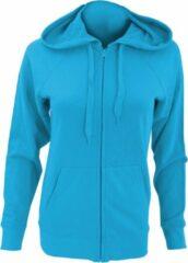 Azuurblauwe Fruit Of The Loom Dames Getailleerd Lichtgewicht Sweatshirt Met Capuchon / Zoodie (240 GSM) (Azure Blauw)