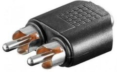 Goobay 11875 Cinch / Jackplug Audio Y-adapter [2x Cinch-stekker - 1x Jackplug female 3.5 mm] Zwart