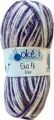 Beijer Oke Eko fil gemeleerd acryl garen - paars (317) - naald 3,5 a 4 - 1 bol van 50 gram