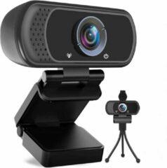 Zwarte K&L® FULL HD WEBCAM 1080p - GRATIS PRIVACY SLUITER - QUAD HD - AUTOFOCUS met Microfoon - Webcam voor PC - Noise Cancelling - Geschikt voor Windows en Apple