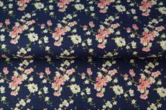 Marineblauwe Merkloos / Sans marque Badcape Bloemen
