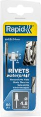 Grijze Rapid Waterdichte blindklinknagel Ø 4,8 x 14 mm 50 stuks + boortje