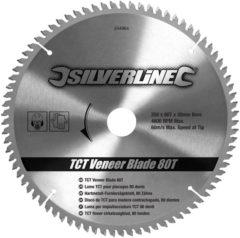Silverline TCT fineer cirkelzaagblad, 80 tanden 250 x 30 - 25,20 en 16 mm ringen