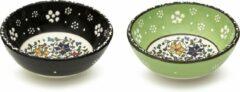 Groene Spark-Usmer Handgemaakt Medium Keramische Kommetjes set van 2 - Snackkommen voor pepernoten, tapas, dessert, noten, olijven, sojasaus, dipschaaltjes, sushi-ingrediënten, salade - Kleurrijke Decoratieve Schaaltjes voor uw Tafel – Smoothiekom