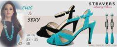 Stravers Kleine Maten Schoenen Stravers - Maat 35 Sexy Sandalet Blauwe Hoge Hakken met Bandje Kleine Maten