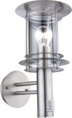 Zilveren GLOBO Buiten wandlamp sensor MIAMI roestvrij staal zilverkleurig 3151S