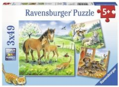 Groene Ravensburger puzzel Knuffeltijd - Drie puzzels van 49 stukjes - kinderpuzzel